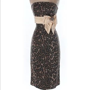 Tracy Reese Strapless Leopard Print Dress 6